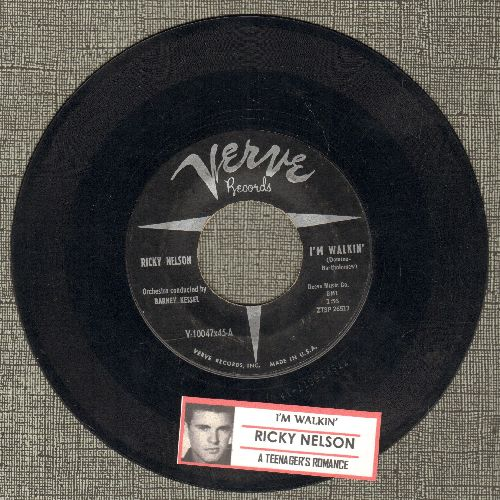 Nelson, Rick - I'm Walkin'/A Teenage Romance (Ricky Nelson's FIRST SINGLE!)(with juke box label) - EX8/ - 45 rpm Records