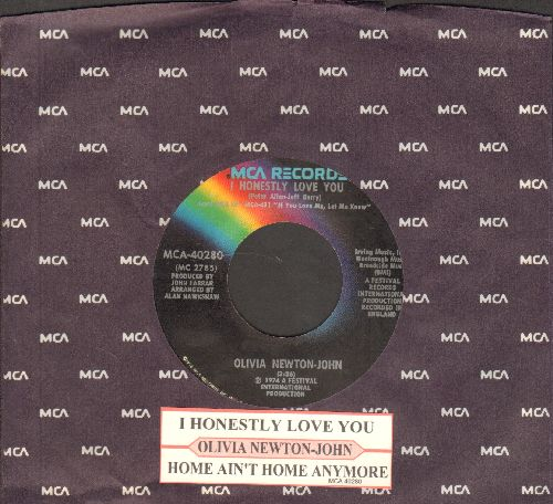 Newton-John, Olivia - I Honestly Love You/Let Me Be There (with juke box label and MCA company sleeve) - NM9/ - 45 rpm Records