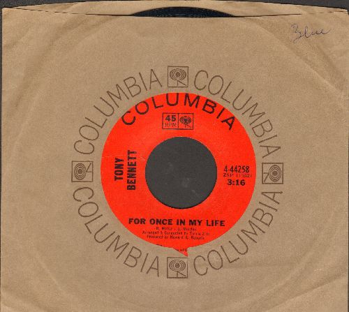 Bennett, Tony - For Once In My Life/Something In Your Smile ( Columbia company sleeve) - NM9/ - 45 rpm Records