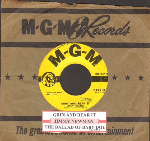 Newman, Jimmy - Grin And Bear It/The Ballad Of Baby Doe (with vintage MGM company sleeve and juke box label) - VG7/ - 45 rpm Records