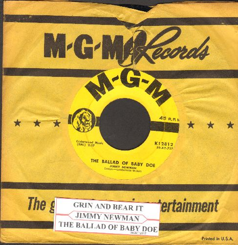 Newman, Jimmy - Grin And Bear It/The Ballad Of Baby Doe (with vintage MGM company sleeve and juke box label) - EX8/ - 45 rpm Records