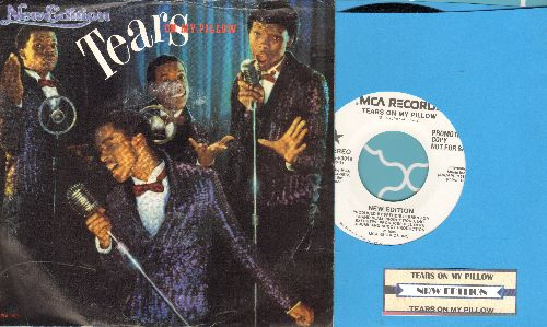 New Edition - Tears On My Pillow (double-A-sided DJ advance pressing with picture sleeve and juke box label) - NM9/VG7 - 45 rpm Records