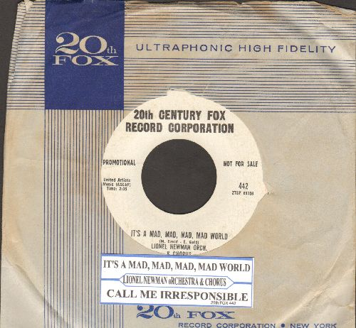 Newman, Lionel Orchestra & Chorus - It's A Mad, Mad, Mad, Mad World/Call Me Irresponsible (DJ advance pressing with vintage 20th Century Fox company sleeve and juke box label) - NM9/ - 45 rpm Records