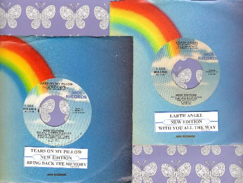 New Edition - 2 first issue 45s with MCA company sleeve and juke box label for the price of 1! Includes hits Earth Angel (FANTASTIC updated version of the Doo-Wop Classic!) and Tears On My Pillow. GREAT for a juke box! - EX8/ - 45 rpm Records
