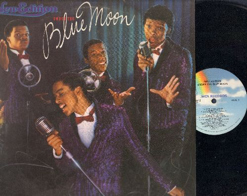 New Edition - Under The Blue Moon: Earth Angel (FANTASTIC updated version of the Doo-Wop Classic!), Duke Of Earl (another GREAT re-make!), What's Your Name, A Million To One (VERY NICE 1980s re-make of the Classic Doo-Wop Ballad!) (Vinyl STEREO LP record)