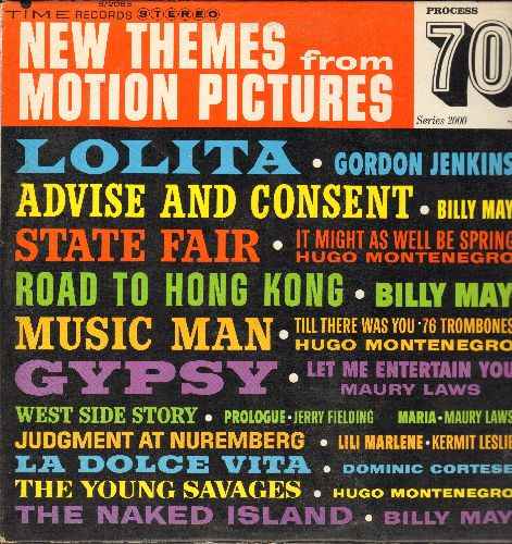 May, Billy, Gordon Jenkins, Hugo Montenegor, others - New Themes From Motion Pictures: Lolita, Lili Marlene, La Dolce Vita, Let Me Entertain You, Advise And Consent (Vinyl STEREO LP record) - EX8/VG7 - LP Records