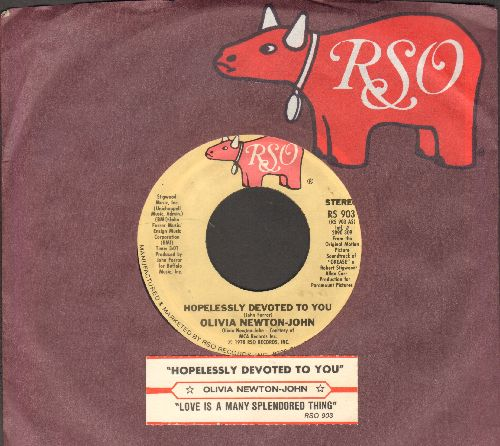 Newton-John, Olivia - Hopelessly Devoted To You/Love Is A Many Splendored Thing (Instrumental) (with juke box label and RSO company sleeve) - EX8/ - 45 rpm Records