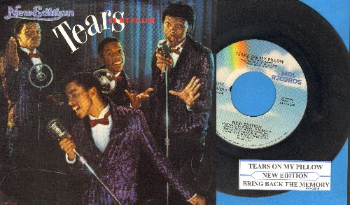 New Edition - Tears On My Pillow/Bring Back The Memory (with picture sleeve and juke box label) - NM9/EX8 - 45 rpm Records