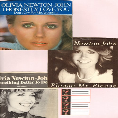 Newton-John, Olivia - Vintage 3-Pack of 45s with picture sleeves. GREAT for a fan! Hits include Have You Never Been Meloow, Please Mr. Please and Something Better To Do. - NM9/NM9 - 45 rpm Records
