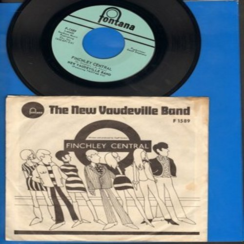 New Vaudeville Band - FinchleyCentral/Sadie Moonshine (RARE follow-up to hit -Winchester Cathedral-, with picture sleeve featuring map of London Underground on back of picture) - NM9/EX8 - 45 rpm Records