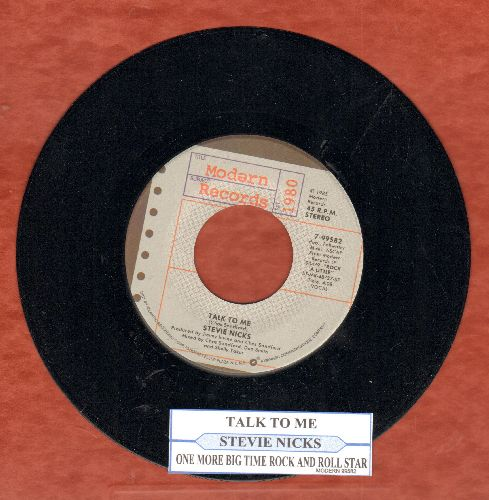 Nicks, Stevie - Talk To Me/One More Big Time Rock And Roll Star (with juke box label) - NM9/ - 45 rpm Records