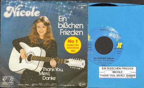 Nicole - Ein bisschen Frieden/Thank You, Merci, Danke (WINNER Grand Prix Eurovision 1982, German Pressing with picture sleeve and juke box label, sung in German) - NM9/EX8 - 45 rpm Records