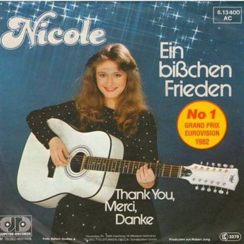 Nicole - Ein bisschen Frieden/Thank You, Merci, Danke (WINNER Grand Prix Eurovision 1982, German Pressing with picture sleeve, sung in German) - NM9/EX8 - 45 rpm Records