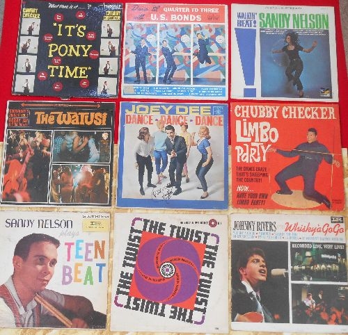LP Covers Perfect Square - Perfect Square of 9 Vintage LP covers - 1960s Novelty Dance Craze Theme. VERY NICE for decorating a Party Room or for a Themed Event. Covers have NO records! - VG7/ - Supplies