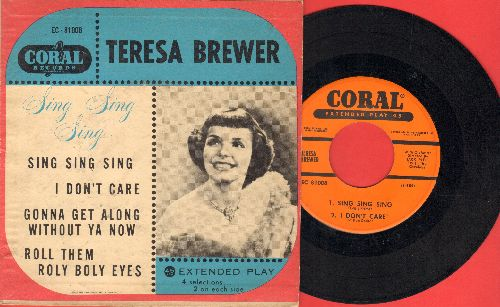 Brewer, Teresa - Sing Sing Sing/I Don't Care/Gonna Get Along Without You/Roll Them Roly Boly Eyes (vinyl EP record with picture cover) - VG7/VG7 - 45 rpm Records