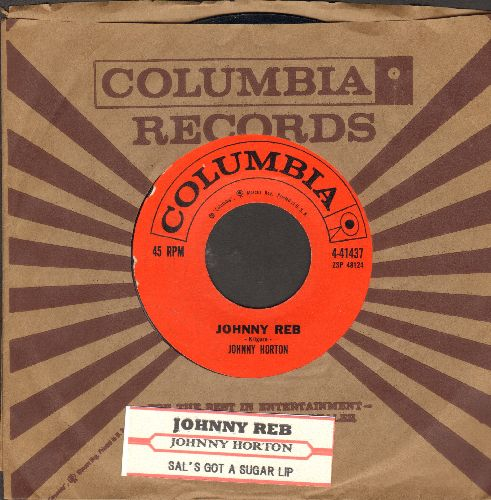 Horton, Johnny - Johnny Reb/Sal's Got A Sugar Lip (with vintageColumbia company sleeve and juke box label) - VG7/ - 45 rpm Records