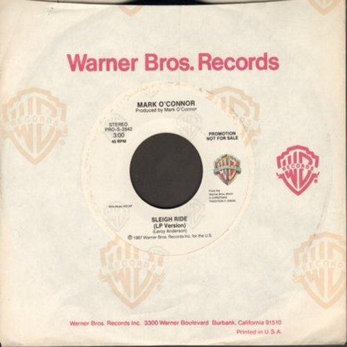 O'Connor, Mark/Randy Travis - Sleigh Ride/White Christmas Makes Me Blue (DJ advance pressing with Warner Brothers company sleeve) - M10/ - 45 rpm Records
