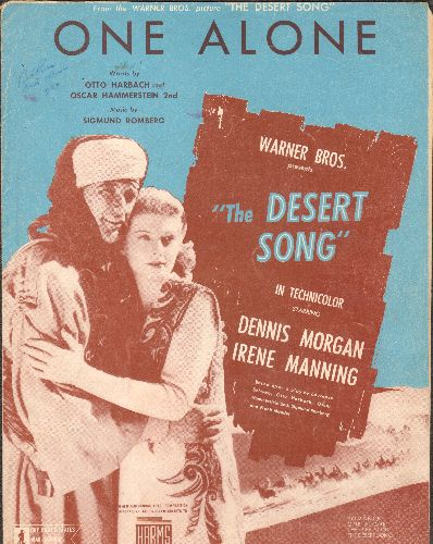One Alone - One Alone - Vintage SHEET MUSIC for the love theme from film -The Desert Song-, BEAUTIFUL cover art featuring stars Dennis Morgan and Irene Manning. - VG7/ - Sheet Music
