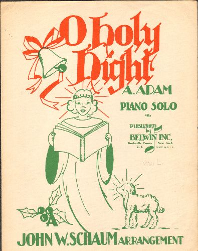 O Holy Night - O Holy Night - Vintage SHEET MUSIC, Piano Solo. 1943 issue. - EX8/ - 45 rpm Records