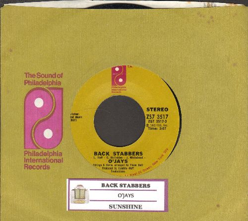 O'Jays - Back Stabbers/Sunshine (with Philadelphia International company sleeve and juke box label) - NM9/ - 45 rpm Records