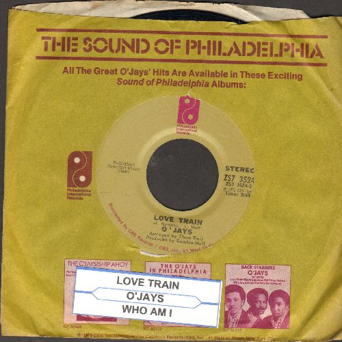 O'Jays - Love Train/Who Am I (with Philadelphia International company sleeve and juke box label) - EX8/ - 45 rpm Records