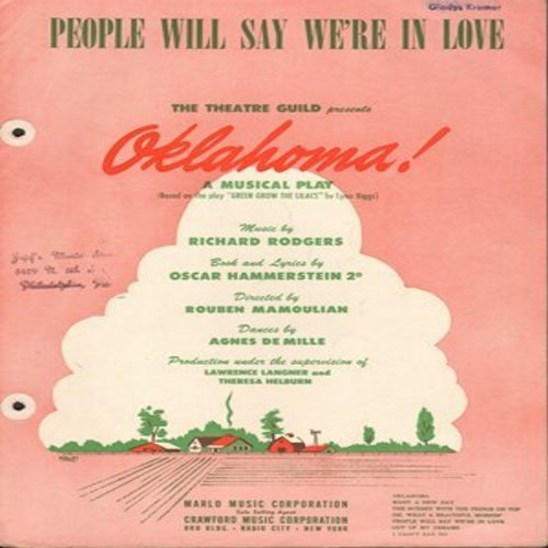 Oklahoma! - People Will Say We're In Love - Vintage SHEET MUSIC for the song featured in the Musical -Oklahoma!- (This is Sheet Music, not any other kind of media!) - VG7/ - Sheet Music
