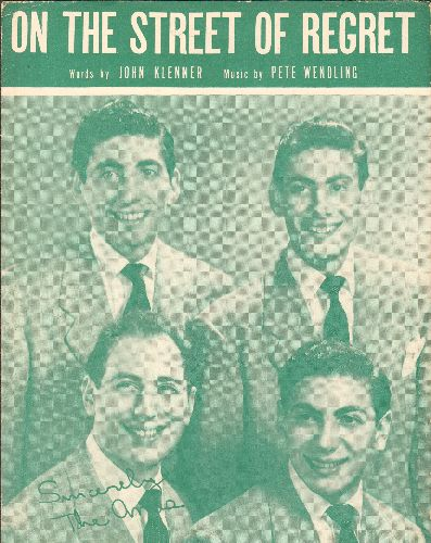 Ames Brothers - On The Street Of Regrets - Vintage SHEET MUSIC for the Ames Brothers' Hit. NICE cover portrait of the popular vocal group! - EX8/ - Sheet Music