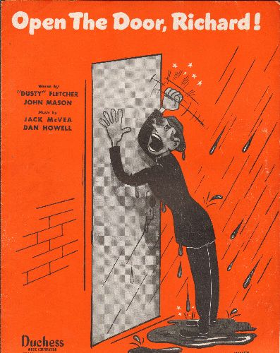 Basie, Count - Open The Door, Richard - Vintage SHEET MUSIC for the Jazz Novelty famously recorded by Count Basie and many other artists. - EX8/ - Sheet Music