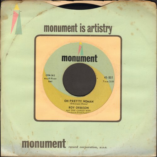 Orbison, Roy - Oh, Pretty Woman/Yo Te Amo Maria (Revised Title - with Monument company sleeve) - EX8/ - 45 rpm Records