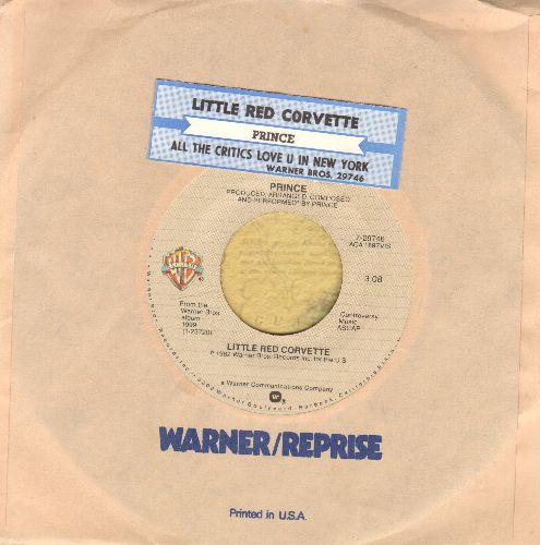 Prince - Little Red Corvette/All The Critics Love U In New York (with Warner Brothers company sleeve and juke box label) - EX8/ - 45 rpm Records