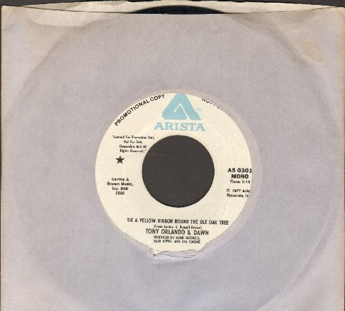 Orlando, Tony & Dawn - Tie A Yellow Ribbon Round The Ole Oak Tree (1977 Version, double-A-sided DJ advance pressing with Arista company sleeve) - M10/ - 45 rpm Records