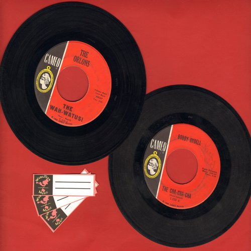 Orlons, Bobby Rydell - Cameo Novelty Dance double-feature: First pressings of The Wah-Watusi and The Cha-Cha-Cha, shipped in plain white paper sleeves with 3 blank juke box labels. - EX8/ - 45 rpm Records
