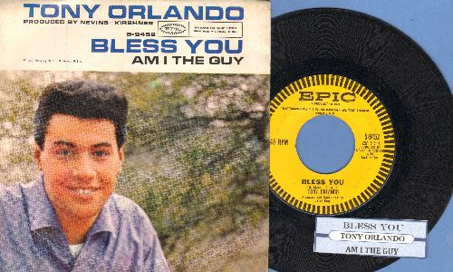 Orlando, Tony - Bless You/Am I The Guy (with picture sleeve and juke box label) - NM9/EX8 - 45 rpm Records