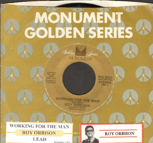Orbison, Roy - Lea/Workin' For The Man (re-issue with juke box label Monument company sleeve) - EX8/ - 45 rpm Records