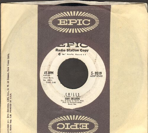 Orlando, Tony - Chills/At The Edge Of Tears (DJ advance pressing with vintage Epic company sleeve) - EX8/ - 45 rpm Records