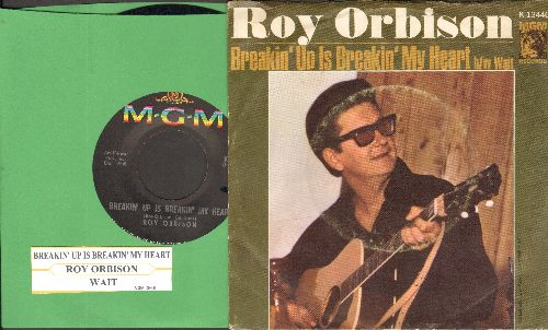 Orbison, Roy - Breakin' Up Is Breakin' My Heart/Wait (with picture sleeve and juke box label) - NM9/VG7 - 45 rpm Records