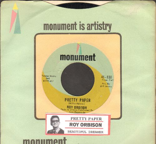 Orbison, Roy - Pretty Paper/Beautiful Dreamer (with juke box label and company sleeve) - NM9/ - 45 rpm Records