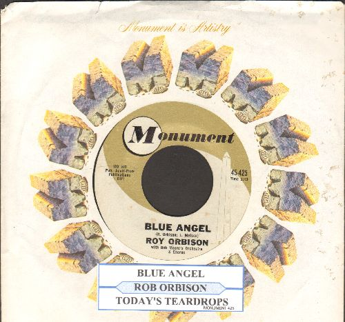Orbison, Roy - Blue Angel/Today's Teardrops (with juke box label and Monument company sleeve) - NM9/ - 45 rpm Records