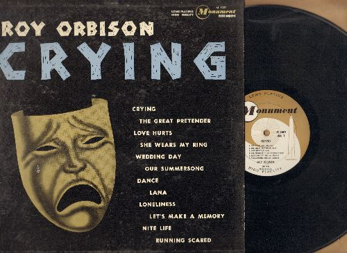 Orbison, Roy - Crying: Love Hurts, Running Scared, The Great Pretender, Wedding Day (Vinyl MONO LP record, RARE 1962 first pressing) - EX8/VG7 - LP Records