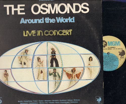 Osmonds - Around The World - LIVE In Concert: 2 vinyl STEREO LP records, gate-fold cover, includes Donny & Marie/50s and Syevie Wonder Medleys. - NM9/EX8 - LP Records