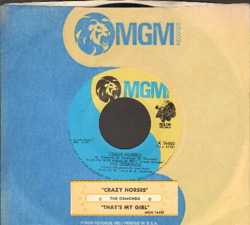 Osmonds - Crazy Horses/That's My Girl (with juke box label and MGM company sleeve) - NM9/ - 45 rpm Records