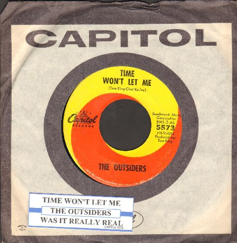 Outsiders - Time Won't Let Me/Was It Really Real (with juke box label and Capitol company sleeve) - EX8/ - 45 rpm Records
