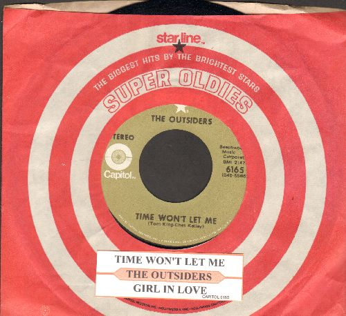 Outsiders - Time Won't Let Me/Girl In Love (MINT condition double-hit re-issue with juke box label and Capitol company sleeve) - M10/ - 45 rpm Records