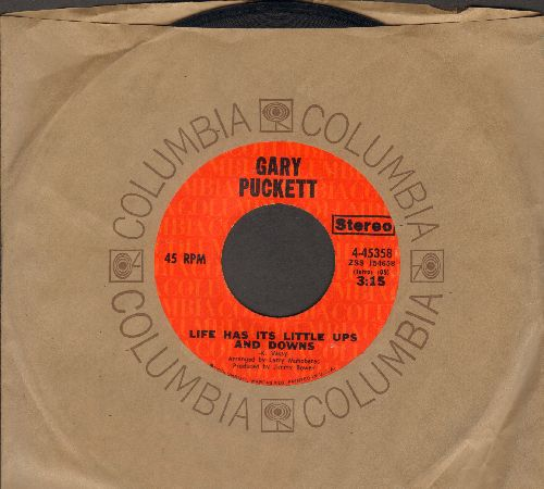 Puckett, Gary - Life Has Its Little Ups And Downs/Shimmering Eyes (with Columbia company sleeve) - EX8/ - 45 rpm Records
