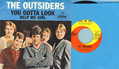 Outsiders - Help Me Girl/You Gotta Look (with picture sleeve) - NM9/EX8 - 45 rpm Records