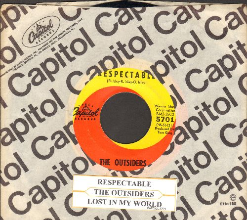 Outsiders - Respectable (She's So Re-spec-ta-ble)/Lost In My World (with Capitol company sleeve and juke box label) - EX8/ - 45 rpm Records