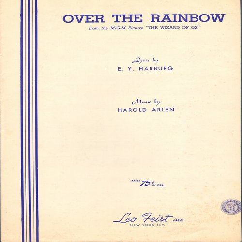 Garland, Judy - Over The Rainbow - Vintage SHEET MUSIC for Judy Garland's signature song - (This is SHEET MUSIC, not any other kind of media!) - EX8/ - Sheet Music