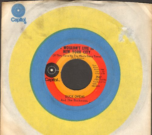 Owens, Buck - I Wouldn't Live In New York City (If They Gave Me The Whole Dang Town)/No Milk And Honey In Baltimore (with vintage Capitol company sleeve) - EX8/ - 45 rpm Records