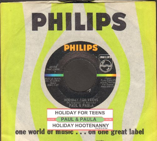 Paul & Paula - Holiday For Teens/Holiday Hootenanny (with juke box label and Philips company sleeve) - NM9/ - 45 rpm Records
