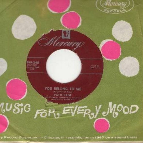 Page, Patti - You Belong To Me/I Went To Your Wedding (maroon label first issue with Mercury company sleeve) - EX8/ - 45 rpm Records